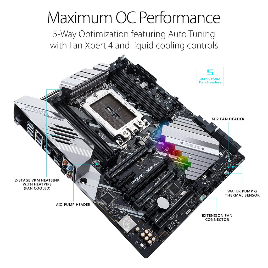 Asus PRIME X399-A AM3+ RGB Lighting Motherboard with USB 3.1 Gen2, AURA Sync RGB Lighting and 3D Printing Mounts