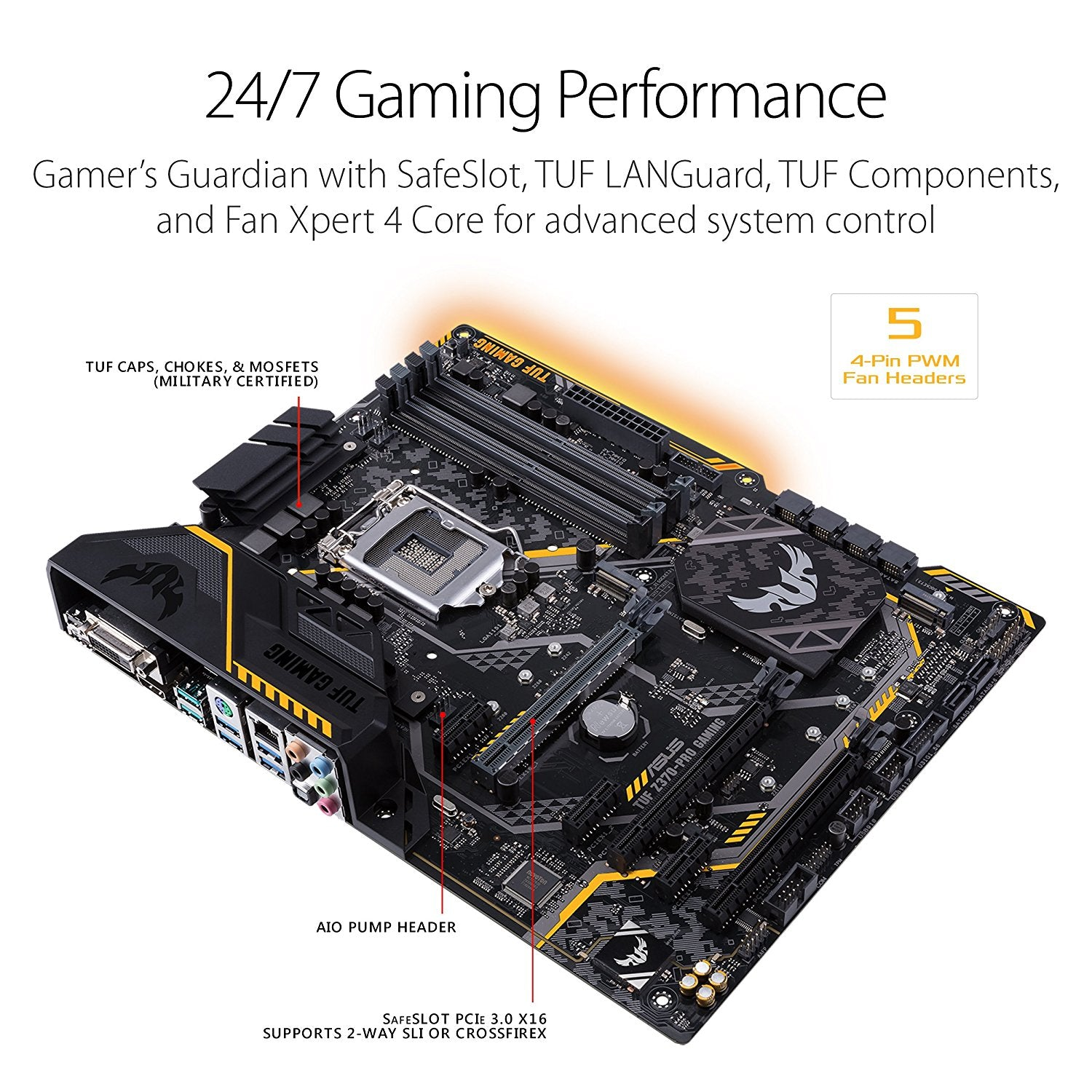 ASUS TUF Z370-PRO GAMING LGA1151 DDR4 HDMI DVI M.2 Z370 ATX Motherboard with Gigabit LAN and USB 3.1 for 8th Generation Intel Core Processors