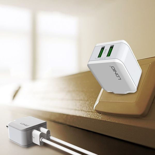 LDNIO USB Travel Charger | 2 in 1 | 2 Port USB | Fast Charging | 2.4 A output