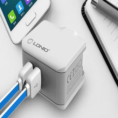 USB Travel Charger | 2 in 1 | 2 Port USB | Fast Charging | 2.4 A output