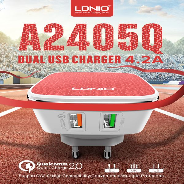 LDNIO USB Travel Charger | Dual USB | Fast Charging | DC 5V/2.4A  9V/1.67A
