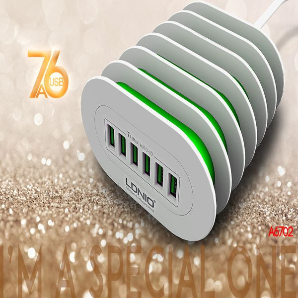 LDNIO USB Travel Charger | 6 in 1 | 6 Port USB | Fast Charging | 5V, 7.0A Output