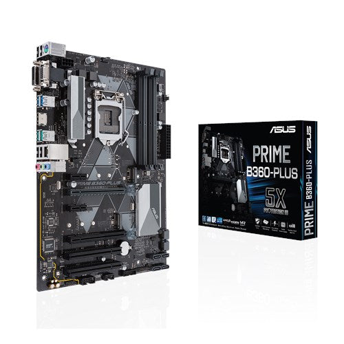 ASUS PRIME B360 PLUS | Intel LGA-1151 ATX motherboard with LED lighting | DDR4 2666MHz dual M.2 Intel Optane memory ready