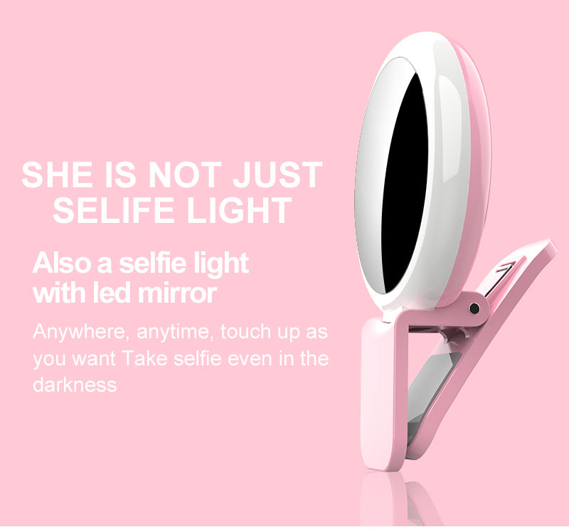 Portable clip on camera mobile phone LED selfie ring light with makeup mirror