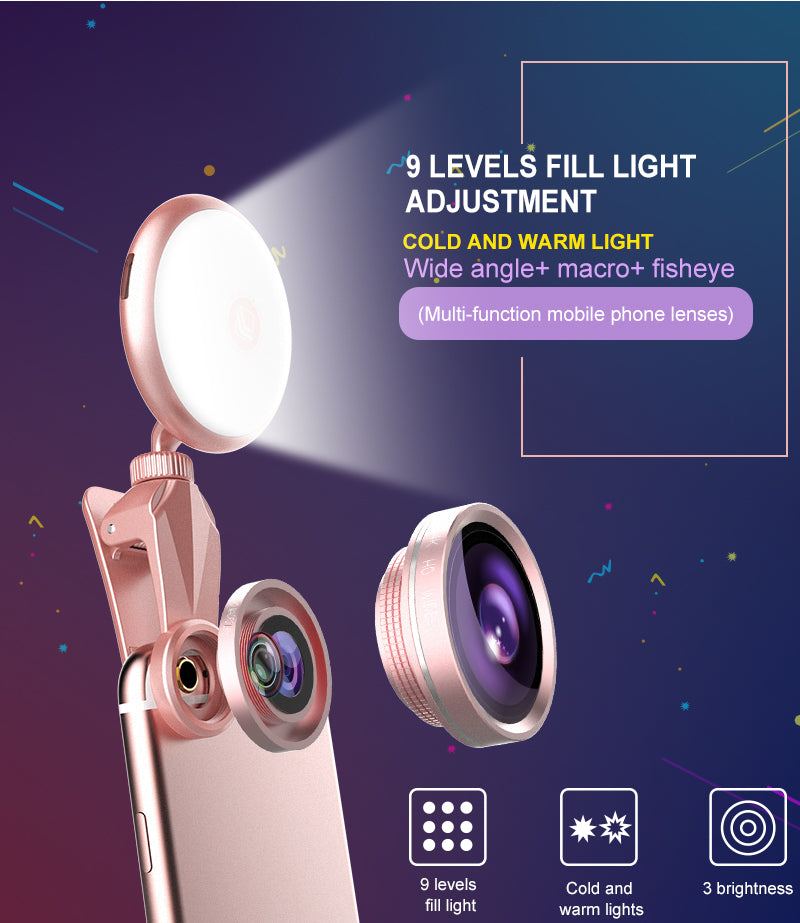 2 in 1 mobile phone selfie light with 360 fisheye lens and USB chargeable