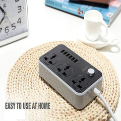 LDNIO Power Sockets with USB | 3 Sockets | 6 Port USB | Fast Charging | 5V 3.4A