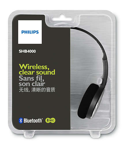 PHILIPS SHB 4000 | Bluetooth stereo headset with 32 mm Neodymium drivers