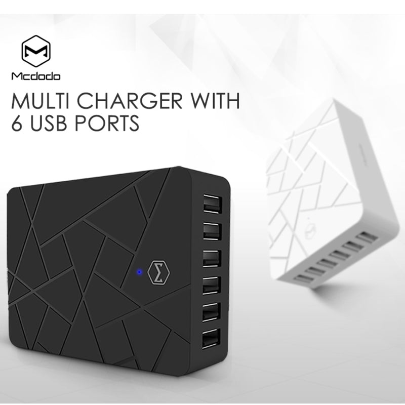 Mcdodo | 6 Port USB Charger | Fast Charge | Max Output 10A | Multi port charger for iPhone | Samsung | HTC | One Plus and More