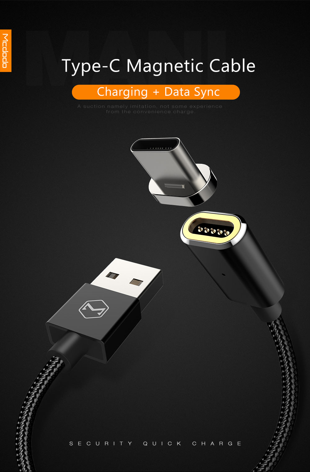 Magnetic  Data cable USB AM to Type-C | 1.2 Meter