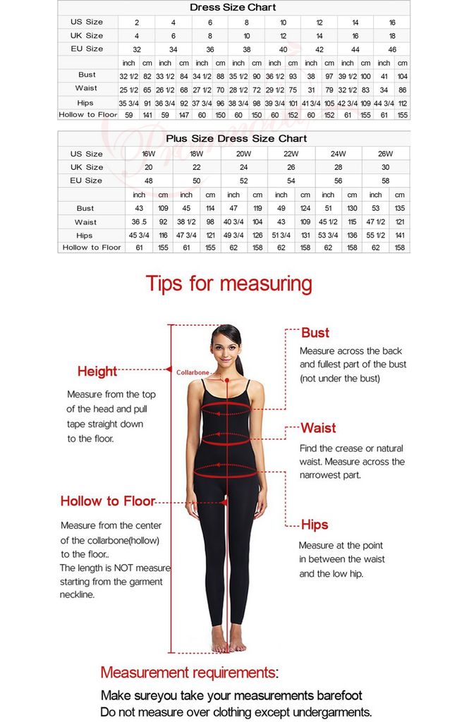 Measuring guide and size chart for prom dresses, wedding dresses   Promnova