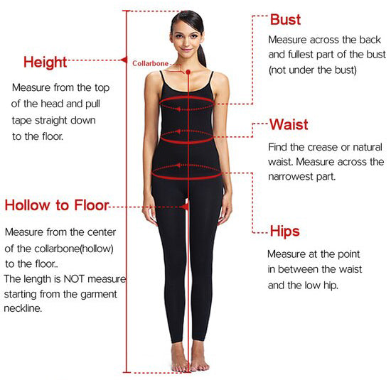 Measuring guide for prom dresses wedding dresses of www.promnova.com