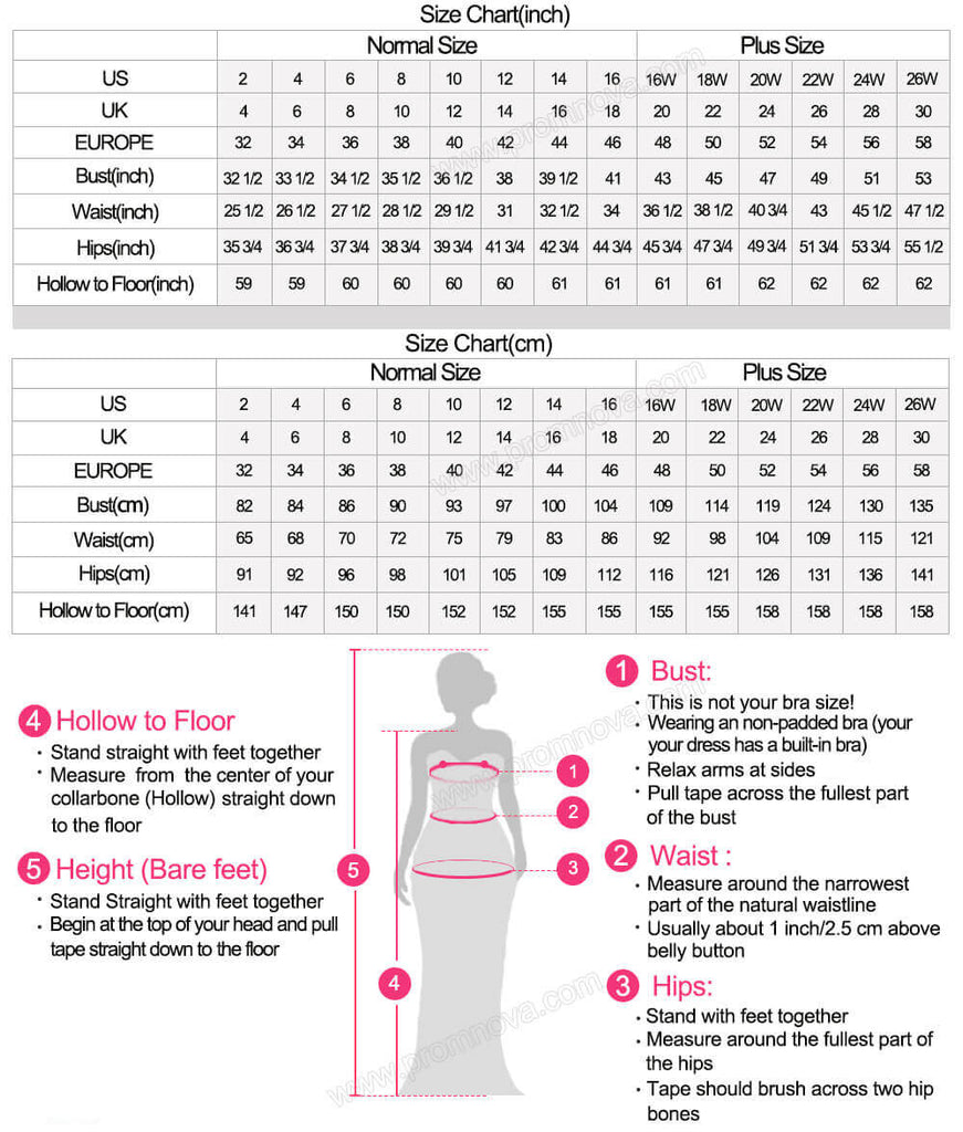 Size chart and measure guide | prom dresses | wedding dresses | Promnova