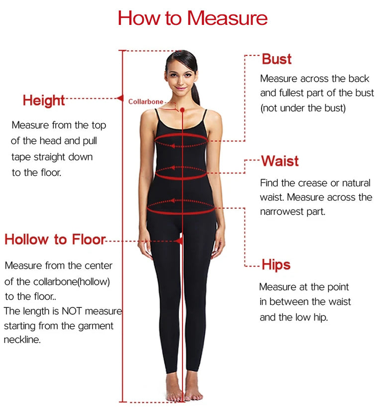 Measuring guide for prom dresses, wedding dresses, bridesmaid dresses, homecoming dresses | Promnova