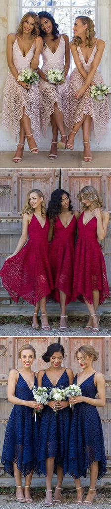 Pink Lace Bridesmaid Dress,A-Line Spaghetti Straps Bridesmaid Dress, PB101