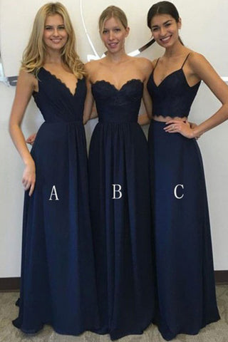 Navy Blue Chiffon A-Line Deep V-Neck Floor-Length Bridesmaid Dress, PB102