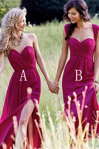 Cheap Simple Chiffon Side Split Floor Length Long Bridesmaid Dresses, PB103
