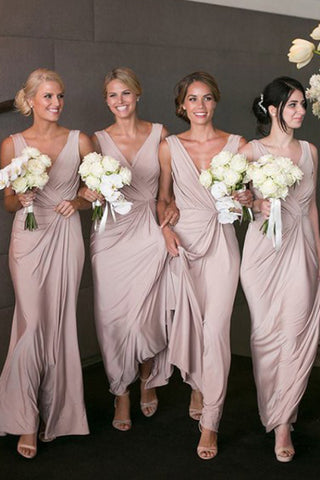 Pink Satin Deep V-Neck Sheath Floor-Length Bridesmaid Dress, PB104
