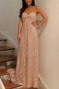 Pink A Line Sweetheart Long Lace Bridesmaid Dresses,Floor Length Prom Dress, PB105