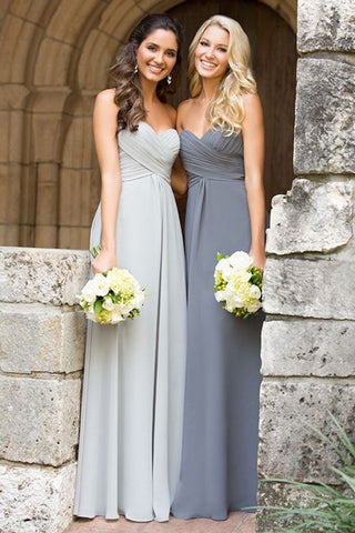 Grey A Line Sweetheart Chiffon Cheap Long Bridesmaid Dresses, PB106