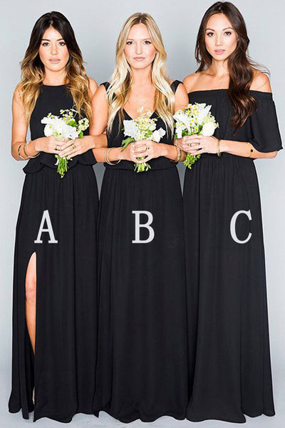 Elegant Black Chiffon Mismatched Bridesmaid Dresses,Cheap Party Dress,PB107