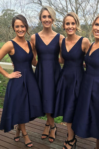 Classic Simple Short A-line Navy Blue High Low Bridesmaid Dress, PB108