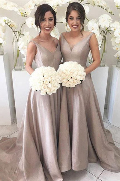 Cheap Silver A Line Taffeta V neck Long Bridesmaid Dresses,PB110