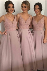 A-line V-neck Dusty Rose Pterry Long Bridesmaid dress, PB111