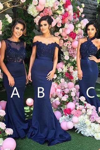 Royal Blue Long Sexy Different Mermaid Cheap Bridesmaid Dresses, PB112
