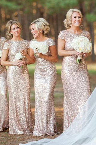 Most popular Charming Short Sleeve Mermaid Sequin Long Bridesmaid Dresses,PB115