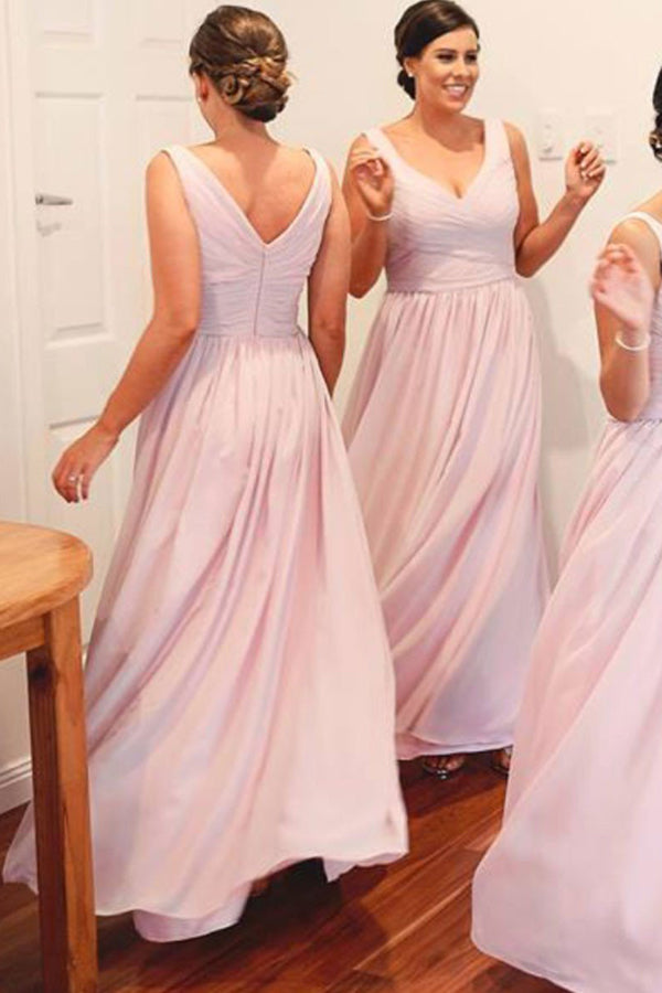 Chiffon A-line Bridesmaid Dresses,Light Pink Wedding Party Dress ...
