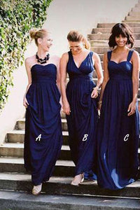 Dark Royal Blue Mismatched Bridesmaid Dresses, Jersey Long Bridesmaid Dress PB117