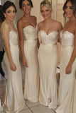 Satin Mermaid Strapless Sweetheart Neckline Long Bridesmaid Dresses PB118