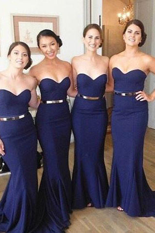 Navy Sweetheart Neck Mermaid Bridesmaid Dresses with Train PB119