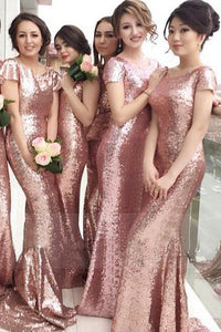Mermaid Sequins Bridesmaid Dresses,Short Sleeves Wedding Party Dresses PB120