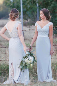 Silver Lace Appliqued V-neck Mermaid Cap Sleeves Bridesmaid Dresses PB121