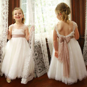Ivory Tulle A-line Lace Flower Girl Dresses,Lovely Flower Girl Dresses, PF101