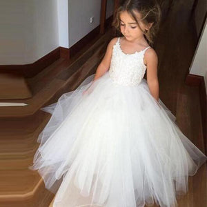 White Tulle Hot Sale Spaghetti Lace Top Flower Girl Dresses For Wedding Party, PF102