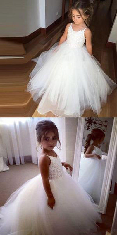 White Tulle Hot Sale Spaghetti Lace Top Flower Girl Dresses For Wedding Party at promnova.com
