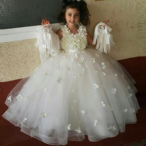 Cute A-line Sleeveless Princess Floor-length Wedding Flower Girl Dress PF104