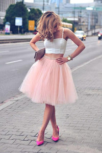 Two Piece Pink Tulle Spaghetti Strap Sleeveless Short Prom Dress, PH102