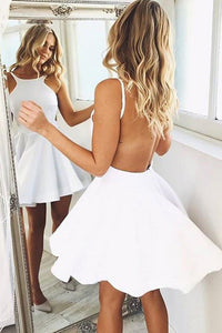 White Simple Short Open Back Homecoming Dress Short Prom Dress, PH103
