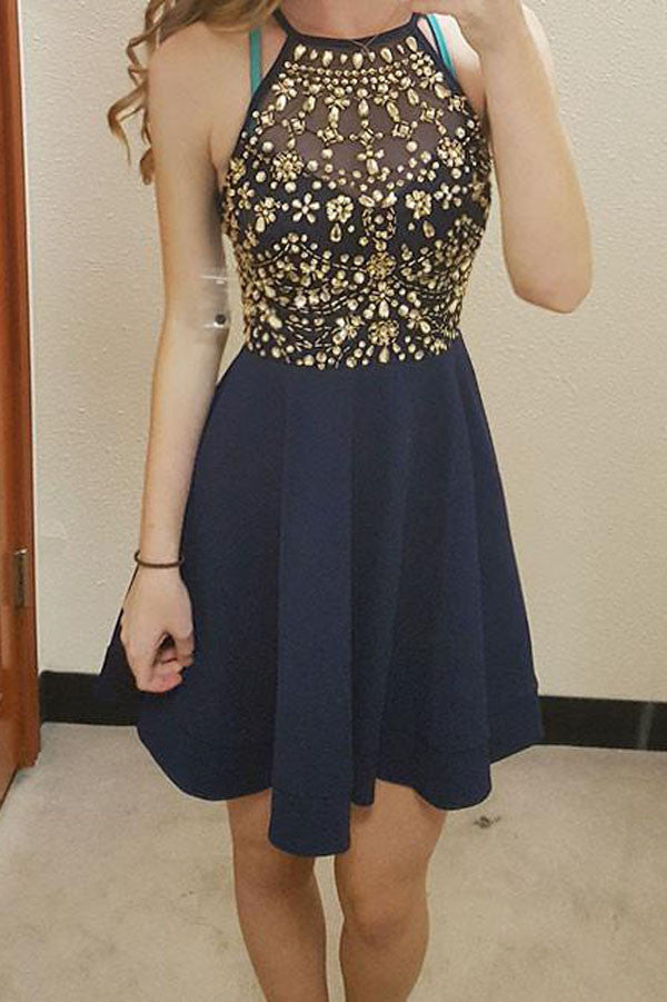 Cheap Round Neck Homecoming Dress, Cute Rhinestones Short Prom Dress, PH104