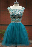 Green Homecoming Dress, Green A -line Round Neck Tulle Short Prom Dress, PH105