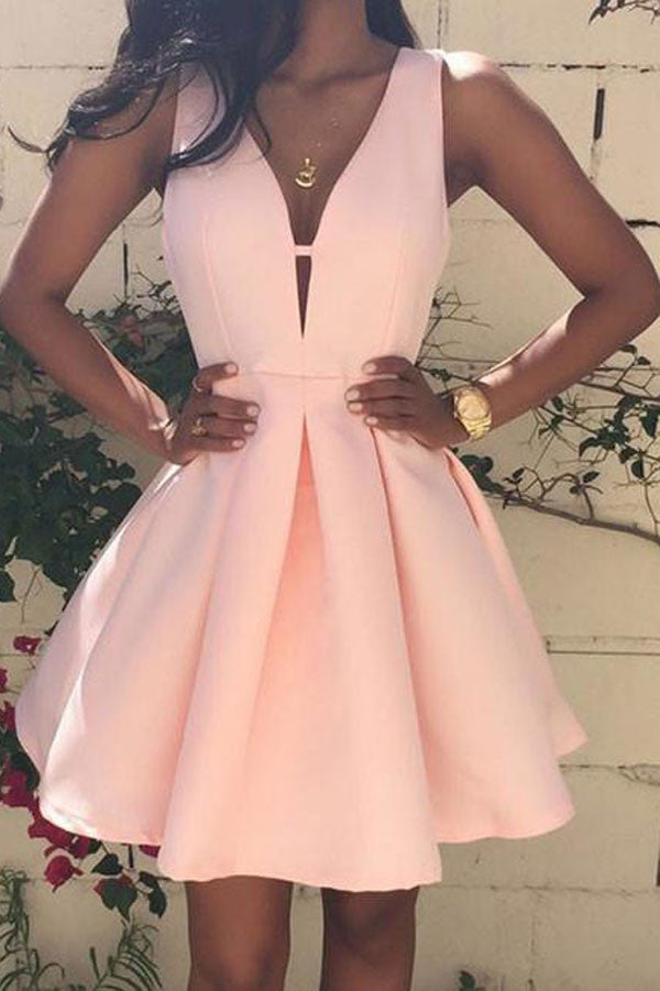 Cute Pink V Neck homecoming Dress, Cheap Short Prom Dresses for ...