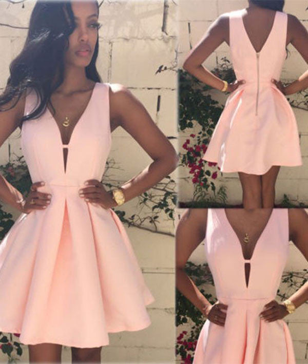 Cute Pink V Neck homecoming Dress, Short Prom Dresses for teens, PH106