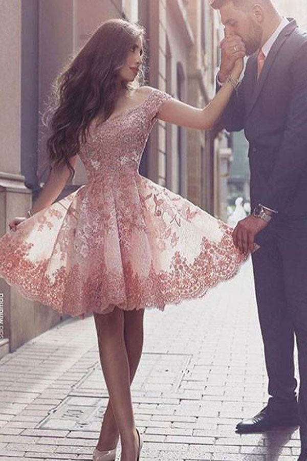 Gorgeous Homecoming Dresses, Pink Lace Off Shoulder Short Prom Dress,  PH110