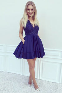 Dark Blue Satin A-Line V-Neck Short Homecoming Dress with Lace Beading, PH113