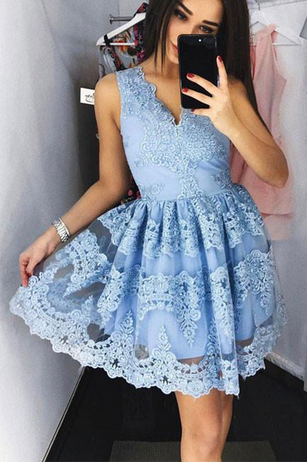 Cute Lace Blue Short Prom Dress,Cheap Fashion Homecoming Dress, PH115