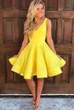 A Line V Neck Yellow Sleeveless Homecoming Dresses,Short Prom Dresses, PH116