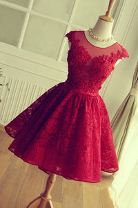 Luxurious Red Lace Cheap A-line Scoop Short Homecoming Dresses,PH118